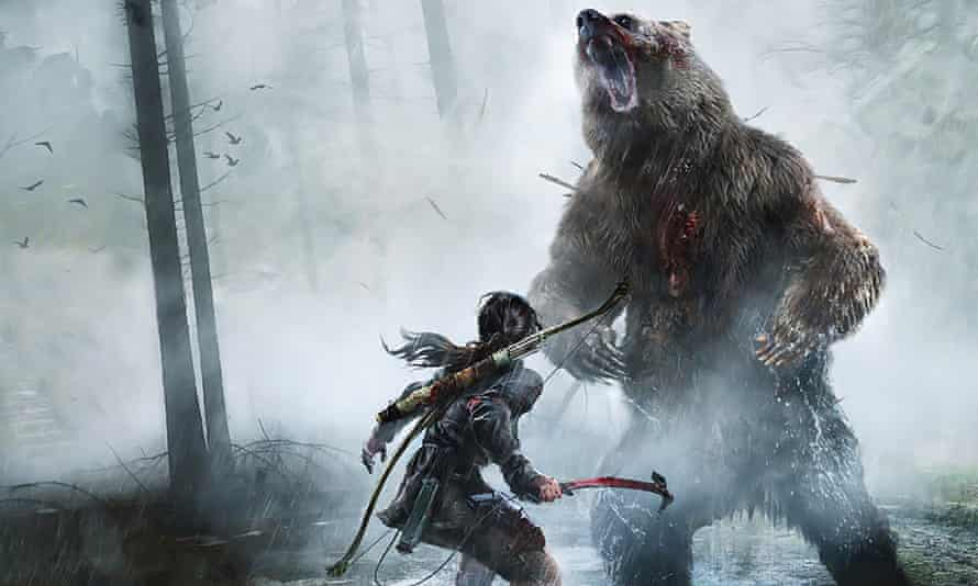 Lara meeting a fan in Rise of the Tomb Raider