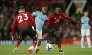 Manchester City's Raheem Sterling surges forward past Manchester United's Paul Pogba and towards Luke Shaw.