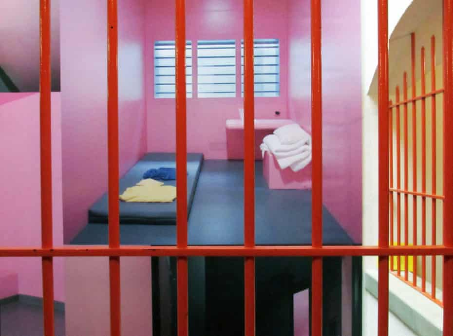 Angelique Stehli: Pink Cells, 2013/2017, installed behind bars in the town's former prison