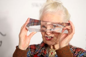 Dame Vivienne Westwood winner of the Swarovski award for positive change in the winners room during the Fashion Awards