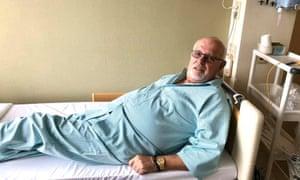 David Abel receiving treatment for coronavirus in a hospital in Japan.