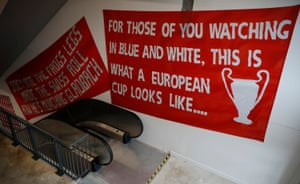Fans' banners also adorn the walls