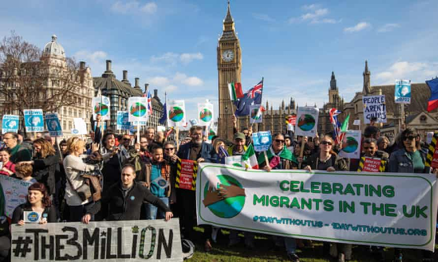 Protesters outside parliament during a day of action in support of migrant workers and EU citizens.