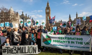 Migrant workers and EU citizens gather in Parliament Square