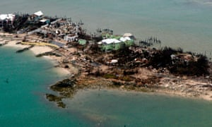 An aerial image courtesy of a US coast guard aircraft crew shows homes and piers in the Bahamas damaged after Hurricane Dorian on 3 September.