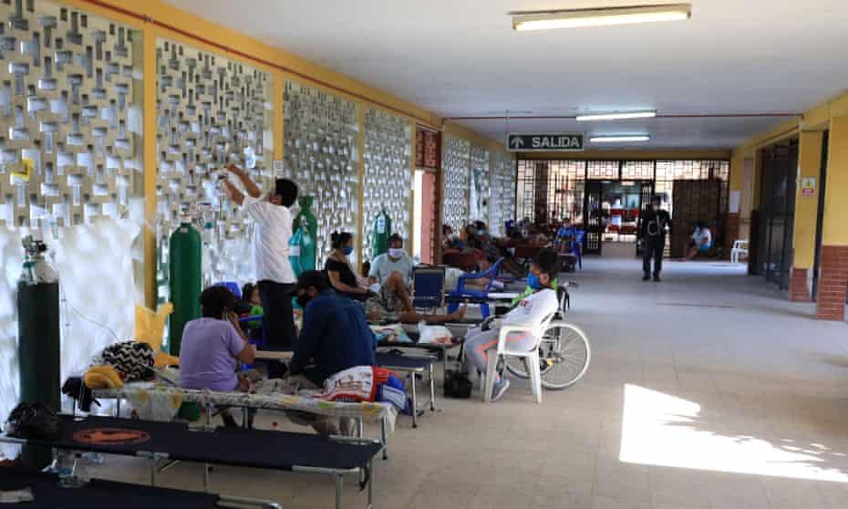 Patients occupy cots in the corridors of Loreto Regional Hospital due to high demand.