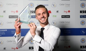James Maddison poses with Leicester's Young Player of the Season award.
