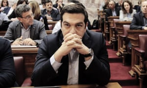 Greece's prime minister Alexis Tsipras at a party meeting in the Greek parliament last May: 'The whole of Europe has a Grecian feel now'