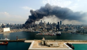 Thick smoke billows over Beirut after a fresh blaze broke out at the port, 10 September