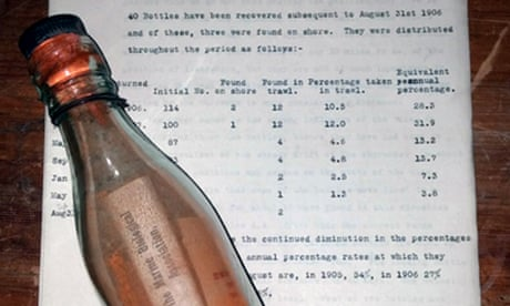 Message in a bottle, promising finder a shilling, bobs up after 108 years