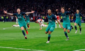 Lucas Moura (centre) scored in the 96th minute to complete a miraculous comeback for Tottenham against Ajax.