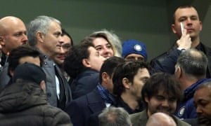 The former Internazionale coach José Mourinho poses for a photo after arriving to see Inter's match against Sampdoria.