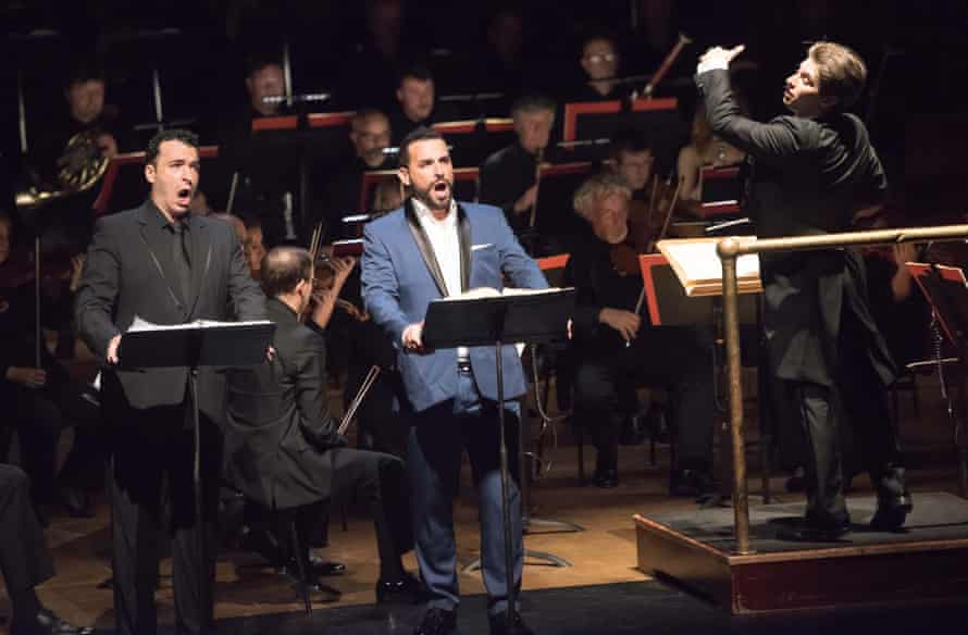 Simone Alberghini, left, and Enea Scala with the BBC Symphony Orchestra conducted by Daniele Rustioni at the Barbican.