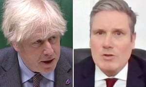Boris Johnson and Keir Starmer during prime minister's questions.