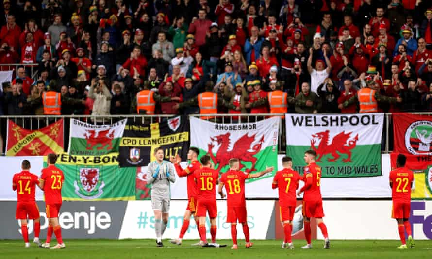 Wales players applaud the support after their 2-0 Euro 2020 qualifying win in Baku in November 2019