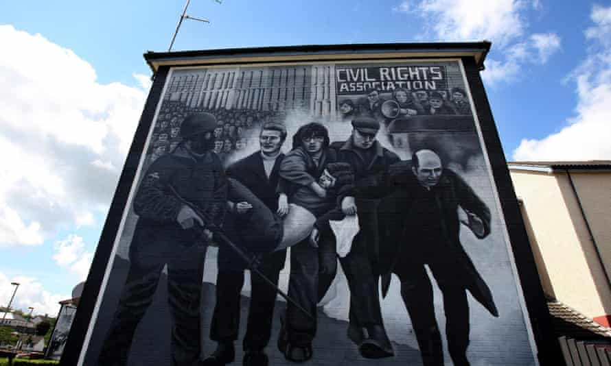 A mural in the Bogside area of Derry depicting Bloody Sunday.