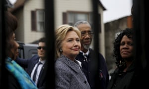 Hillary Clinton visits a memorial dedicated to victims of gun violence called 'Kids of the Block', in Chicago in March.