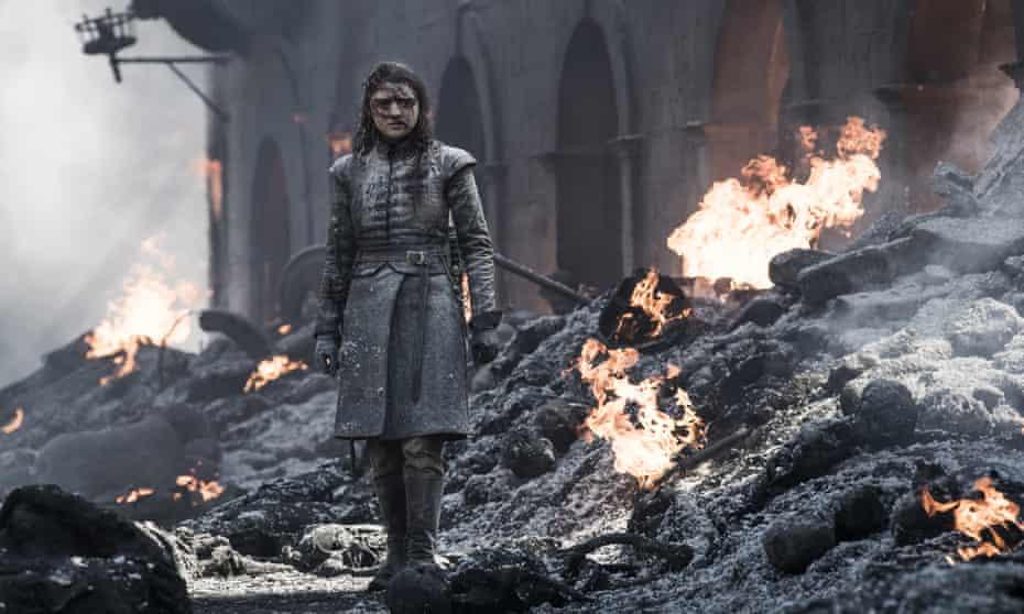 Unleashing hell ... Arya surveys the charred ruins of King's Landing.