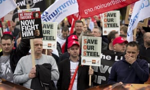 Supporters of the Scunthorpe steel industry protest at the loss of jobs from the local Tata Steel works.