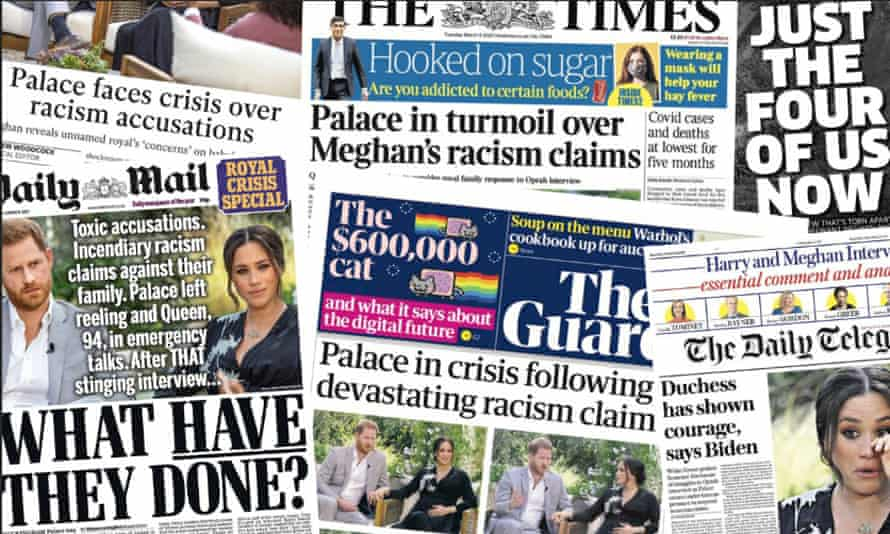 UK newspaper front pages on 9 March, following Oprah's explosive interview with Harry and Meghan