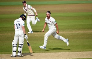 Jack Brooks of Somerset celebrates as he gets Robert Yates of Warwickshire out during the Specsavers County Championship Division One match between Warwickshire and Somerset at Edgbaston.