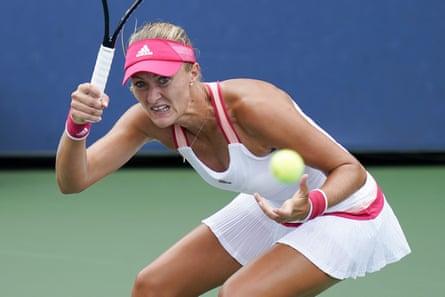 Kristina Mladenovic during her second-round defeat with Varvara Gracheva.