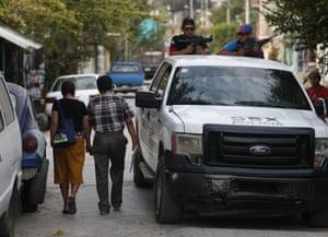 FUPCEG vigilantes on the streets of Xaltianguis.