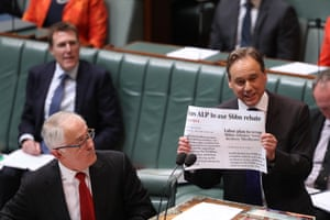 The health minister, Greg Hunt, and the prime minister, Malcolm Turnbull, during question time
