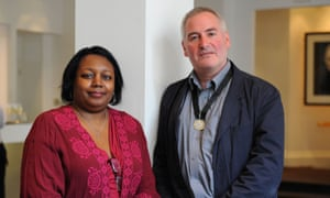 Author, illustrator and current Children's laureate Chris Riddell, with author and former laureate Malorie Blackman.