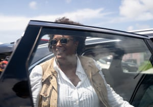 Mia Mottley, Prime Minister of Barbados, leaves the National Emergency Management Agency following a meeting with Bahamaian government officials.