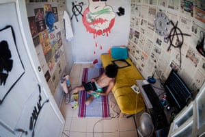The young Tunisian likes to relax in his room, which he decorated himself.