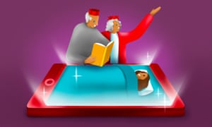 Illustration of grandparents reading to child in bed