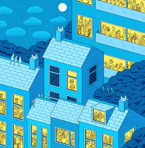 Only the lonely: Illustration of a street of houses with windows showing people having fun