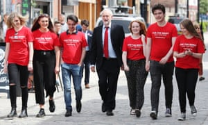 Jeremy Corbyn with young Labour supporters campaigning in Hull