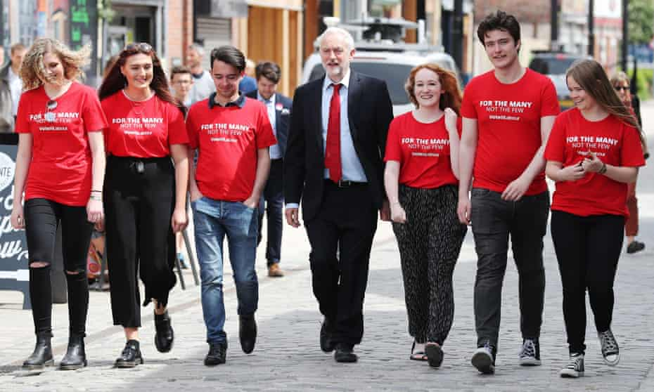 Jeremy Corbyn campaigning with young supporters in Hull last month.