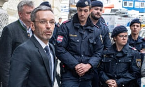 Herbert Kickl leaves the parliamentary group office of Austria's Freedom party in Vienna after being fired.