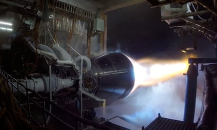 Fired up: the methane-burning rocket engine being tested by Blue Origin, in Texas.