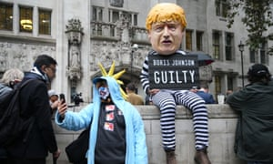 A protester dressed as Boris Johnson outside the supreme court  in central London