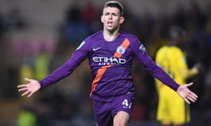 Phil Foden celebrates after scoring the third Manchester City goal against Oxford on Tuesday.