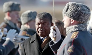 João Lourenço, president of Angola, reviews the honour guard during an official welcome ceremony at the Vnukovo-2 airport terminal in Moscow in April.