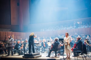 Gwyn Hughes Jones, Simone Young, Patricia Bardon, the ENO orchestra, choir and BBC Singers in rehearsals for The Dream of Gerontius at the Royal Festival Hall.