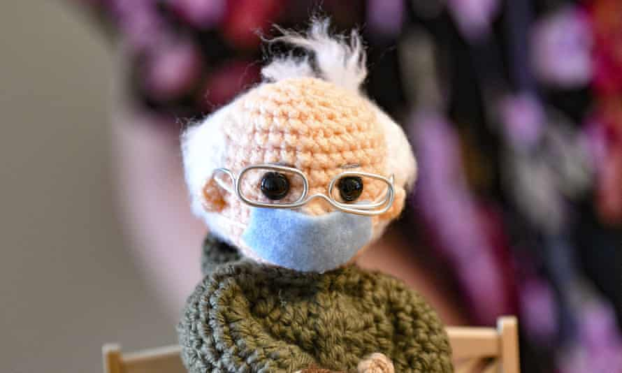 The crochet Bernie Sanders doll made by Tobey King, of Corpus Christi, Texas.