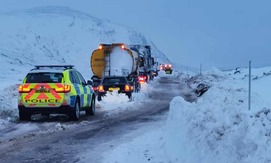 Vehicles stranded by snow on the A835 between Ullapool and Garve, northern Scotland
