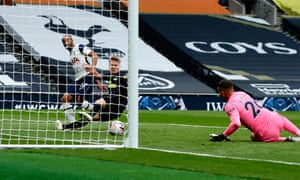 Lucas Moura of Tottenham Hotspur scores his side's first goal.