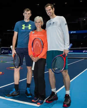 Andy Murray, right, with his mother and brother, Judy and Jamie.