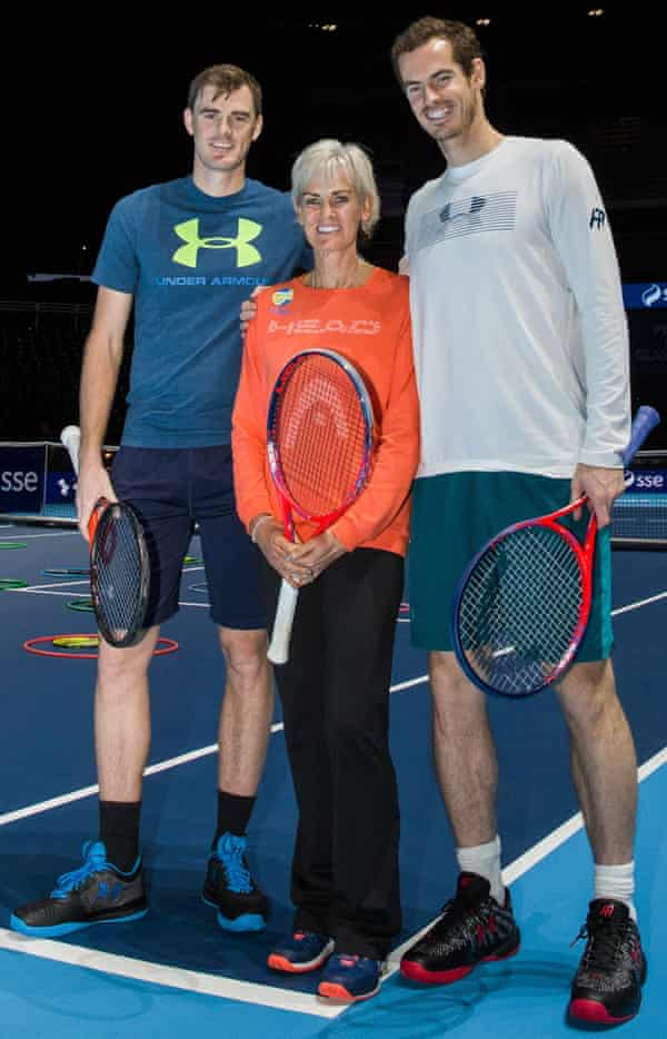 Andy Murray poses with his mother and brother, Judy and Jamie, before his before return after injury to play in a Charity Exhibition Tennis match against Roger Federer at the SSE Hydro Arena in Glasgow. Andy Murray Live Charity Tennis Exhibtion, SSE Hydro Arena , Glasgow, UK, 7th November 2017