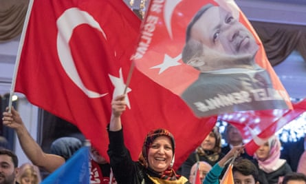 Supporters of Recep Tayyip Erdogan at a rally in Kelsterbach near Frankfurt am Main.