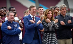 West Ham vice-chair Karren Brady with players and staff.