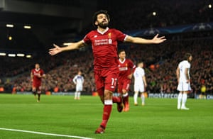 Mohamed Salah of Liverpool celebrates scoring his sides first goal.