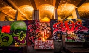 Graffiti-battered walls of the seminary